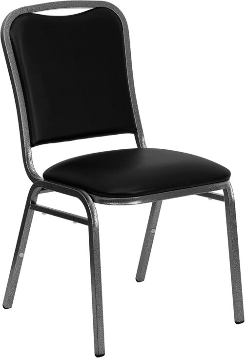 Lot 100 Black Vinyl Banquet Conference Silver Vein Steel Frame Stack Chairs