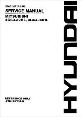 Mitsubishi Engine Base Rebuild Manual 4g63-32hl 4g64-33hl Forklift Lpg Cd