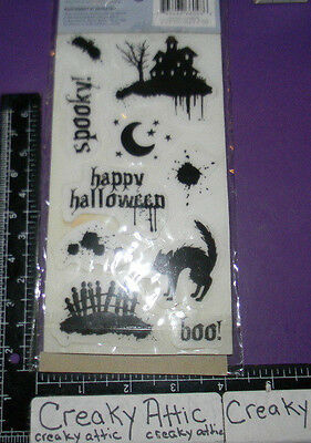 HALLOWEEN 10 CLING RUBBER STAMPS CLOUD 9 HOUSE CAT FENCE BAT SPOOKY BOO