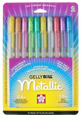Sakura Gelly Roll® Metallic™ Fine and Medium Point Pen Set of 10 Assorted Colors
