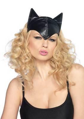 Leg Avenue Black faux Leather Cat Mask Cat Woman Fancy Dress head band - Cat Head Mask