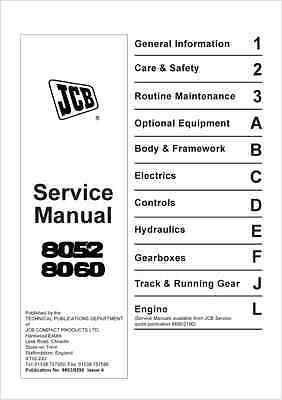 JCB Midi Excavator 8052 8060 Service Manual (B235)