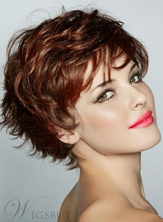 Graceful Short Feathered Pixie Haircut Wispy Bangs Synthetic Hair ...