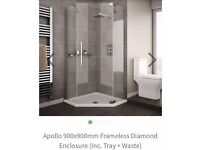 900 x 900 quadrent glass shower and tray