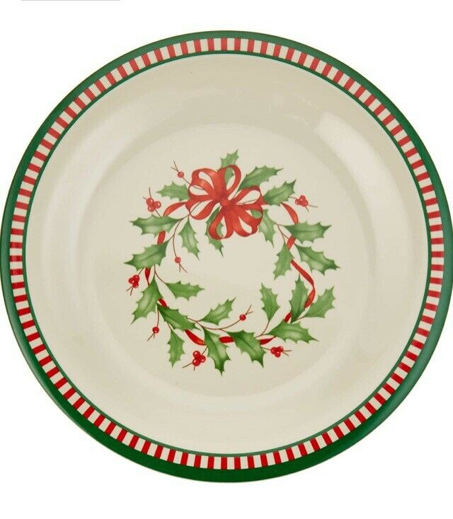 Lenox Holiday Melamine 4-Piece Striped Dinner Plate Set-New