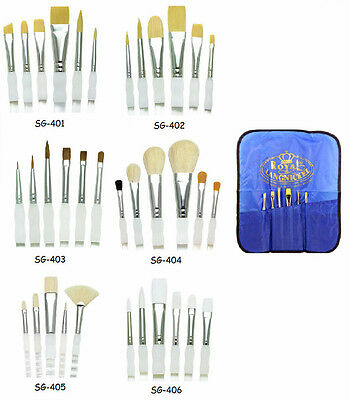 (Royal Langnickel Paint Brush Set SOFT GRIP 6pc w Carry Case CHOOSE FROM 6 SETS)
