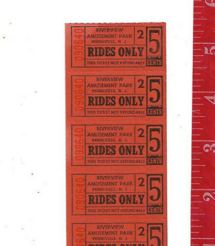Vintage Lot 5 cents ride Riverview tickets Pennsville New Jersey