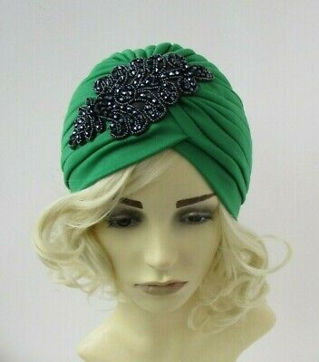 Emerald Green & Navy Blue Beaded Turban Headpiece Hat Vintage Style 1930s 0300