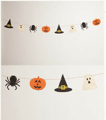 Bethany Lowe Halloween Felted Baubles Garland JOL Ghost Spider Witch Hat—retired