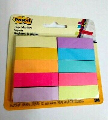 Post-it Page Flag Markers Assorted Bright Colors 50 Sheetspad 10 Padspack