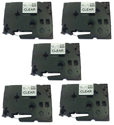 5 Pk Tz-131 Black On Clear Label Tape For Brother Tze131 P-touch Pt-d210 12mm