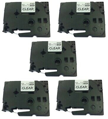 New 5 Pack Black On Clear Tz131 Label Tape 12mm For Brother Tze 131 P-touch 8m