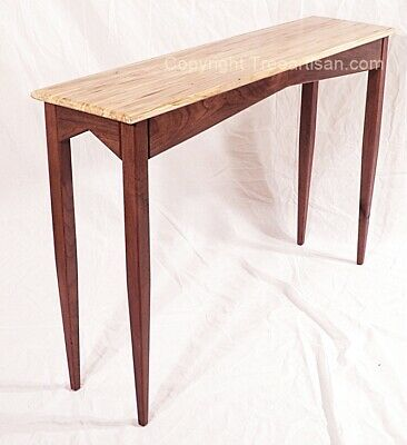 Living Room Maple Console Table - Ambrosia Maple Walnut Console Hall Sofa Table Handcrafted in USA
