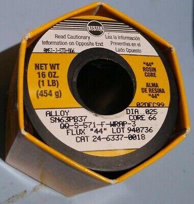 Kester 44 Rosin Core Solder Wire Sn63pb37 16oz. Diameter .025 24-6337-0018