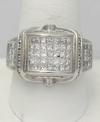 MENS 585 14k WHITE GOLD 2.00ct SQUARE ROUND DIAMOND INVISIBLE CHANNEL SET RING Diamond Invisible Mens Ring