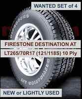 Firestone Destination AT, LT265/70R17, New or Lightly Used