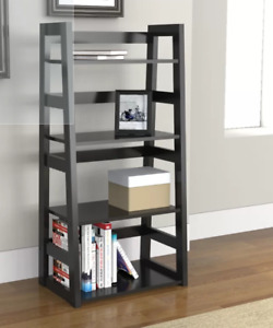 Two Modern Black Bookcases - 1 assembled, 1 new in box