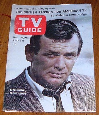 1965 TV GUIDE COVER'S ONLY~THE FUGITIVE DAVID JANSSEN~FRONT & BACK COVER'S