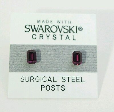Purple Emerald Rectangle Earrings 5mm Small Crystal Made With Swarovski Elements Element Jewelry Rectangle Earrings
