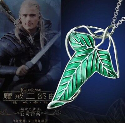 Lord of The Rings Green Leaf Of Lorien Elven Pin Brooch Pendant Necklace 6cm USA