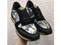 Valentino Garavani Rockstud Leather Suede Sneakers