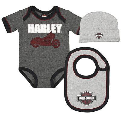 Harley-Davidson Infant Boys B & S Gray 3-Piece Creeper, Cap & Bib Set 2551013 Harley Boys 3 Piece