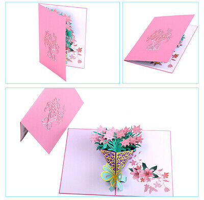 Lily  3D Pop up Gift Cards Birthday Mother's Day holiday Teacher Anniversary 3d Pop Up Christmas Cards