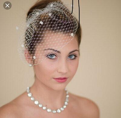 Brides Ivory birdcage wedding veil 6