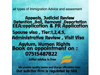 All area of Immigration Advice, EEA PR and Residence, Appeal, JR,Detention,Bail.