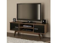 Scandinavian design TV unit - walnut black lowboard retro cabinet