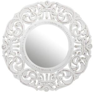White wood carved mirror