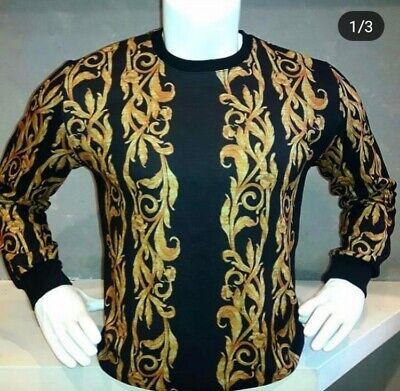 Luxury Mens Versace Sweatshirt, L Size, Black Color, %100 Cotton