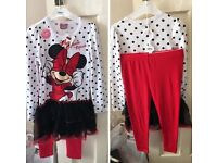 Disney Minnie Mouse frilly tshirt and leggings set aged 7-8