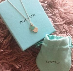 Tiffany Double Heart Necklace in Blue