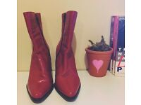 Red leather vintage boots