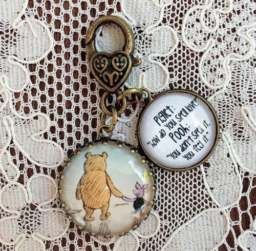 "POOH AND PIGLET ~ FRIENDS Glass Charm Filigree Brass 1"" ZIPPER PULL Key Ring"