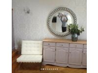 Painted sideboard and matching bookcase / cupboard