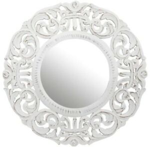 New white wood carved mirror