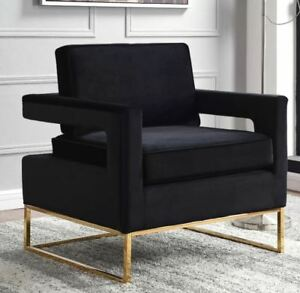 Brand New Canterbury Modern Golden Legs Velvet Arm/Accent Chairs