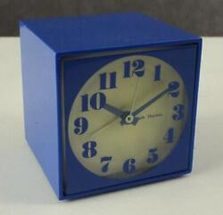 Vintage SETH THOMAS Bright Blue MOD Box Mini Light 507 Alarm Bedside Clock