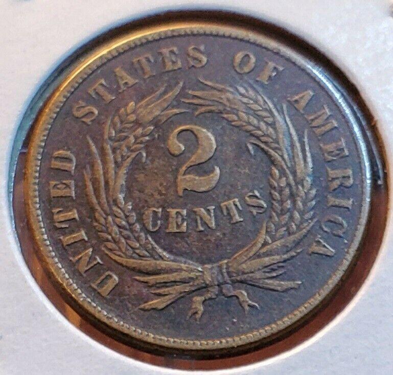 1865 2 CENT PIECE AU DETAILS TWO CENTS 💎