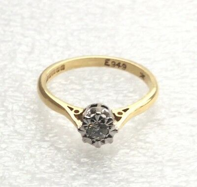 VINTAGE 18CT GOLD & PLATINUM SOLITAIRE DIAMOND RING  - 2.8 GRAMS - UK SIZE L1/2