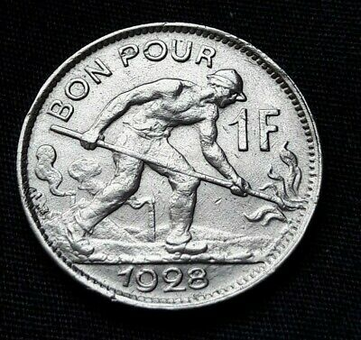 Luxembourg Bon Pour 1 Franc 1928 KM#35 Charlotte
