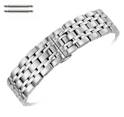 Stainless Steel Polished Metal Replacement Watch Band Strap Butterfly Clasp #55 Polished Steel Metal