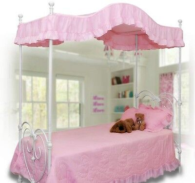 Twin size PINK Ruffled canopy cover / top for a Canopy Bed GORGEOUS! NEW! (Pink Canopy Top)