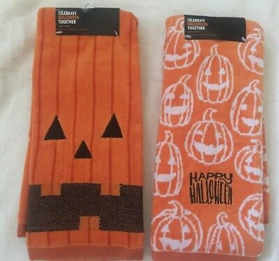 "New Lot of 2 Halloween Pumkin King Hand Towels Happy Halloween 16""x25"" - Halloween Pumkin"