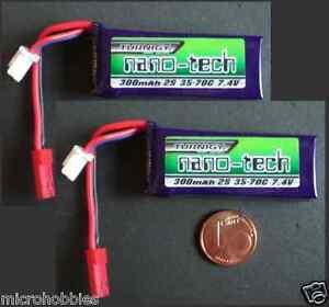 2 x Turnigy NanoTech 300mAh 2S 35C-70C 7,4V Nano LiPo Batterie,Losi, UMX, 130 X