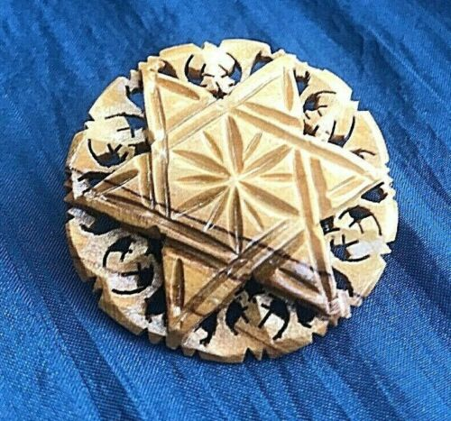 Star Of David Pin, Wood, Carved Six Pointed Star, Possibly Olive Wood