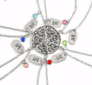 461a6a086b BFF Necklace Pizza Best Friend Necklaces Pendant Friendship Jewelry Charm -  6pcs