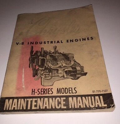 Chrysler V-8 Industrial Engines Operating Manual H-series Models